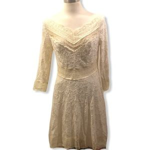 COPY - FREE PEOPLE CREAM LACE SKATER DRESS LARGE …